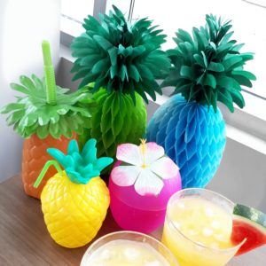 Tropical Bridal Shower Party Elements Pineapple, Coconuts and Palm Trees