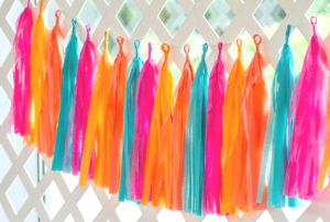 Colorful tropical inspired Tassel Garland