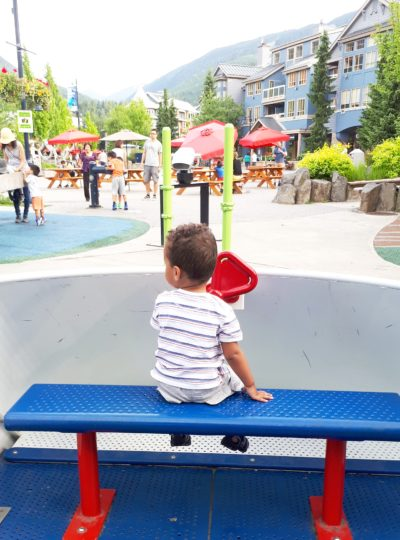 mixed kid in the park in whistler village